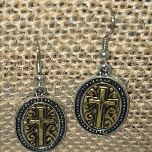 Gold and silver oval cross earrings